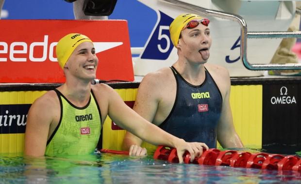 As irmãs australianas Cate Campbell (à dir.) e Bronte Campbellna, esperanças de medalha na natação na Rio-2016 (Tao Xiyi/Xinhua)