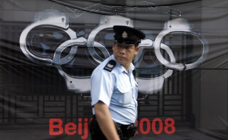 Protesto do Repórteres Sem Fronteiras pela liberdade antes dos Jogos de Pequim-2008 (Victor Fraile/Reuters)